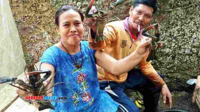 Nelayan penangkap lobster air tawar di Desa Rejasari, Kecamatan Langensari, Kota Banjar
