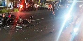 Tabrakan dua motor di Jalan Sutisna Senjaya, Kota Tasikmalaya, Jawa Barat, mengakibatkan satu orang tewas di tempat, dan tiga orang mengalami luka berat. Foto: Istimewa.